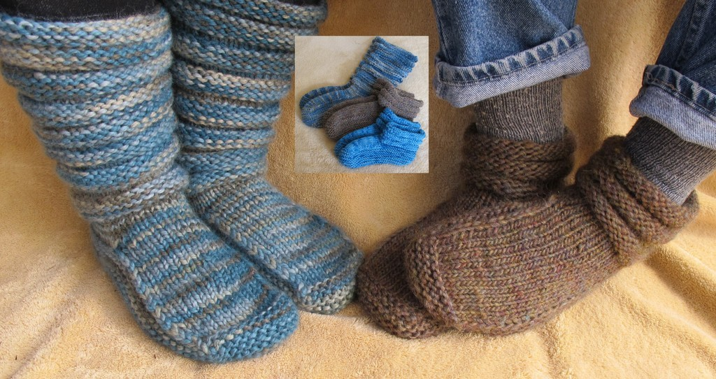 Knitting Easy Slippers : Made to fit double knit slippers yarns loom knitting and patterns