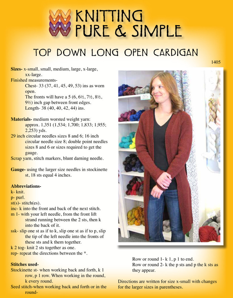 e2f92a9f7 1405 20open 20cardi 20front 1405 20open 20cardi 20front  Knitting pattern 1405 1407-2-outlined